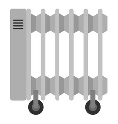 White electric heater on wheels icon isolated vector