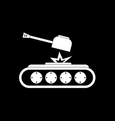 White icon on black background tank explosion vector