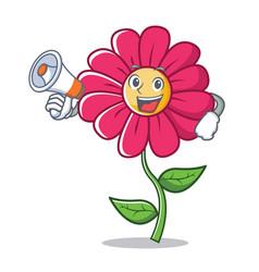 With megaphone pink flower character cartoon vector