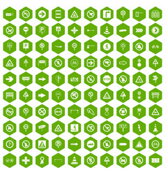 100 road signs icons hexagon green vector
