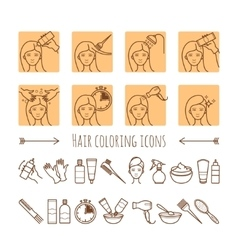 Hair coloring process Thin line icons vector image