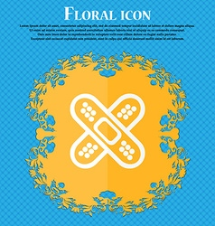 Adhesive plaster icon floral flat design on a blue vector