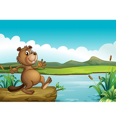 A beaver above a floating wood vector
