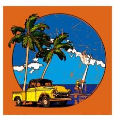 Hawaiian grunge scene vector image