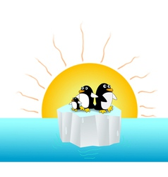 Global warming affects penguins vector
