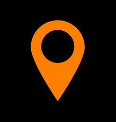 mark pointer sign orange icon on black background vector image