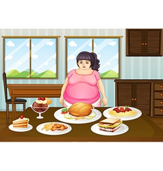A fat lady in front of a table full of foods vector