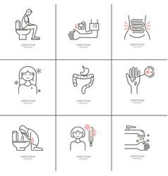 Diarrhea monoline icons vector