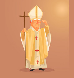 happy smiling catholic priest mascot character vector image