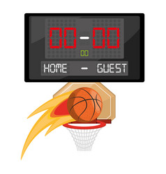 Basketball and points competition play game vector