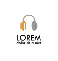headphone flat icon logo vector image