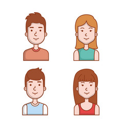 avatars people man and woman portrait set vector image