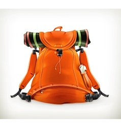 Travel backpack orange vector