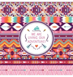 Hipster seamless colorful tribal pattern with vector