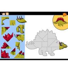 Cartoon dinosaur jigsaw puzzle game vector