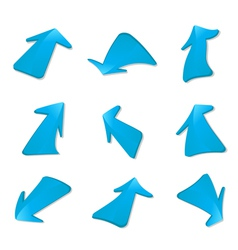 Set of blue arrows vector