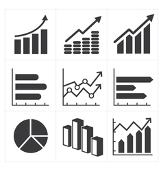 Icon set of diagram and graphs business vector