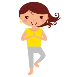Cute yoga girl isolated on white vector