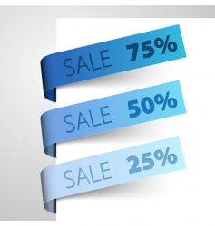 set of blue paper tags vector image