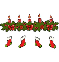 Holly berry candle socks vector
