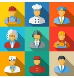 Flat icons with people faces of different vector