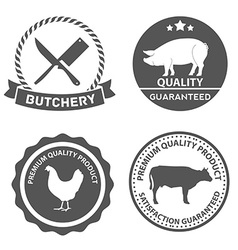 Set of butcher shop labels and design elements vector