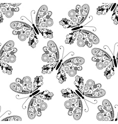 Seamless white pattern with lacy butterflies vector image