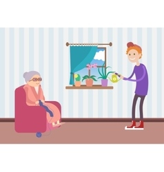Kind boy helps old woman to water the flowers vector image