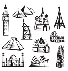 set of landmarks vector image
