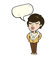Cartoon cool relaxed woman with speech bubble vector
