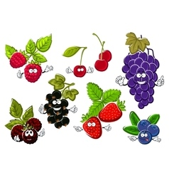 Garden berry fruits happy characters vector