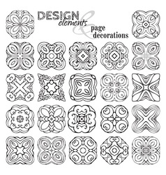 Set of square geometric ornaments vector