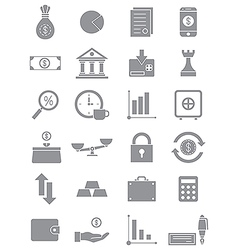 Gray finance icons set vector image
