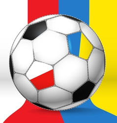 Football ball with Poland and Ukraine flags vector image