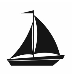 Boat with sails icon simple style vector