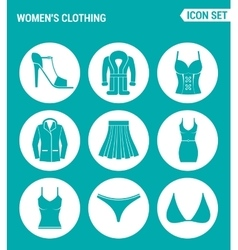 Set of round icons white women s clothing shoes vector