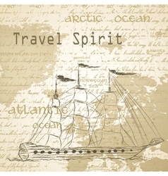 Travel background with vintage map and handwritten vector