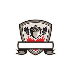 Acorn oak leaf flames shield retro vector