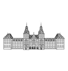amsterdam city landmark travel sign netherlands vector image vector image