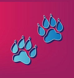 Animal tracks sign blue 3d printed icon vector