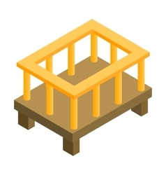 Baby bed isometric 3d icon vector