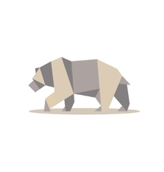 Brown bear in polygon style design on the low poly vector image vector image