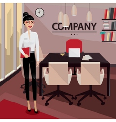 Business woman standing in her private office vector image