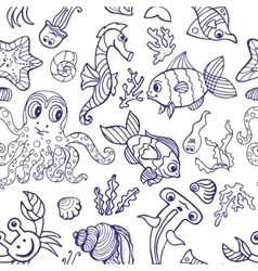 Cartoon Funny Fish Sea Life seamless pattern vector image vector image