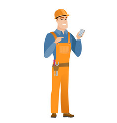 Caucasian builder holding a mobile phone vector