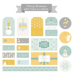 Christmas Retro Snowman Set - Tags Labels vector image vector image