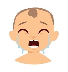 Crying boy face vector