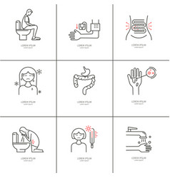 Diarrhea monoline icons vector