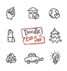 doodle style eco set Cute hand drawn vector image vector image