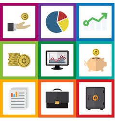 Flat icon incoming set of chart cash hand with vector